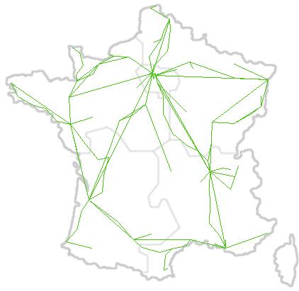 Carte du réseau en France
